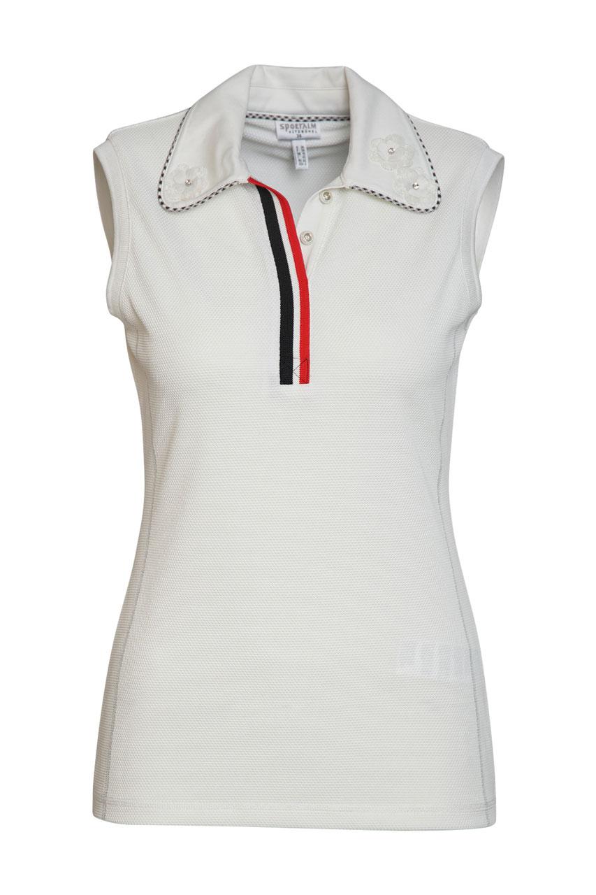 Poloshirt o. Arm m. Blüten von Sportalm-Poloshirt Gr. 38 weiß ohne Arm