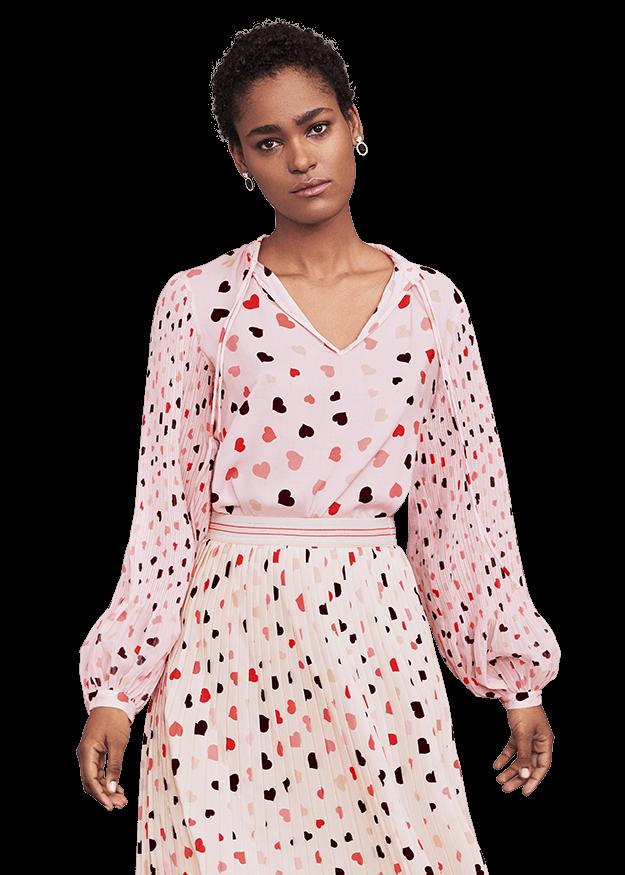Bedruckte Bluse mit Plisseeärmel von RIANI Gr. 40